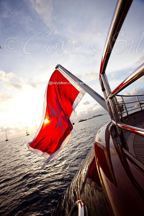 The Malta flag flying onboard the Maltese Falcon.