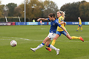 Everton forward Nicoline Sorensen (14) shoots and hits the post during the FA Women's Super League match between Everton Women and Brighton and Hove Albion Women at the Select Security Stadium, Halton, United Kingdom on 18 October 2020.
