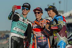 November 12, 2017 - Valencia, Valencia, Spain - World champions #36 Joan Mir (Spa) Leopard Racing Honda (Moto3) #93 Marc Marquez (Spanish) Repsol Honda Team Honda (MotoGP) #21 Franco Morbidelli (Ita) Eg 0,0 Marc Vds Kalex (Moto2) during the race day of the Gran Premio Motul de la Comunitat Valenciana, Circuit of Ricardo Tormo,Valencia, Spain. Saturday 12th of november 2017. (Credit Image: © Jose Breton/NurPhoto via ZUMA Press)