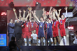 September 30, 2018 - Turin, Piedmont, Italy - The Polish team raises the World Cup after the final match between Brazil and Poland for the FIVB Men's World Championship 2018 at Pala Alpitour in Turin, Italy, on 30 September 2018. Poland won 3: 0 and it is confirmed world champion. (Credit Image: © Massimiliano Ferraro/NurPhoto/ZUMA Press)