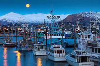 Moonrise over Saint Herman Harbor in Kodiak, Alaska
