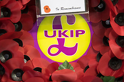 © Licensed to London News Pictures . 29/09/2017 . Torquay , UK . UKIP wreath at the conference exhibition . The UK Independence Party Conference at the Riviera International Centre . UKIP is due to announce the winner of a leadership election which has the potential to split the party . Photo credit: Joel Goodman/LNP