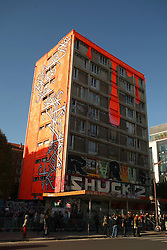 © Licensed to London News Pictures . 'Paris 13 Tower', also known as 'Tour Paris 13', is a derelict apartment block in Paris transformed into a housing project and a giant blank canvas for over 100 international street artists. 'Paris 13 Tower' is spread over nine floors and covers over 4,500 square meters of ground space in 36 apartments. The building is only open to the public in October and it is set to be demolished in November. (29/10/2013) . Photo credit : Isabel Infantes /LNP