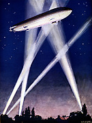 Zeppelin airship caught in searchlights during a bombing raid over England, 1916. On night of 2-3 September London was bombed. Illustration published c1920.