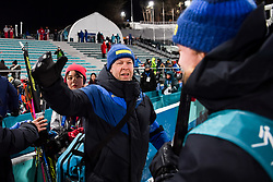 February 12, 2018 - Pyeongchang, SOUTH KOREA - 180212  Sebastian Samuelsson of Sweden, Silver, celebrates with his team after the Men's Biathlon 12,5km Pursuit during day three of the 2018 Winter Olympics on February 12, 2018 in Pyeongchang..Photo: Jon Olav Nesvold / BILDBYRN / kod JE / 160157 (Credit Image: © Jon Olav Nesvold/Bildbyran via ZUMA Press)