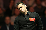 Ronnie O'Sullivan (Eng) reacts after missing a pot. Ronnie O'Sullivan (Eng) v Neil Robertson (Aus), Quarter-Final match at the Dafabet Masters Snooker 2017, at Alexandra Palace in London on Thursday 19th January 2017.<br /> pic by John Patrick Fletcher, Andrew Orchard sports photography.