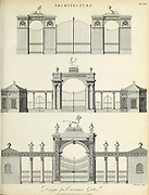 Design for entrance gates Copperplate engraving of From the Encyclopaedia Londinensis or, Universal dictionary of arts, sciences, and literature; Volume II;  Edited by Wilkes, John. Published in London in 1810