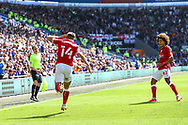 CELE Bristol City's Andreas Weimann (14) celebrates scoring the opening goal with team-mate Han-Noah Massengo (42) during the EFL Sky Bet Championship match between Cardiff City and Bristol City at the Cardiff City Stadium, Cardiff, Wales on 28 August 2021.