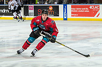 KELOWNA, CANADA - MARCH 16:  Mark Liwiski #9 of the Kelowna Rockets warms up against the Vancouver Giants on March 16, 2019 at Prospera Place in Kelowna, British Columbia, Canada.  (Photo by Marissa Baecker/Shoot the Breeze)