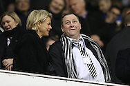 Mike Ashley, the Newcastle United owner looks on from the directors box before k/o. Barclays Premier league match, Tottenham Hotspur v Newcastle Utd at White Hart Lane in London on Sunday 13th December 2015.<br /> pic by John Patrick Fletcher, Andrew Orchard sports photography.