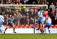 Photo: Leigh Quinnell.<br /> Nottingham Forest v Swindon Town. Coca Cola League 1. 25/02/2006. Wes Morgan heads in a goal for Nottingham Forest.