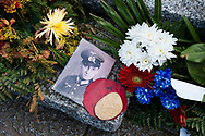 Flowers and a photo of a German soldier are placed at a memorial in the La Cambe German military cemetery, located close to Bayeux, France. It holds the graves of more than 21,000 German military personnel of World War II, most killed during the Battle of Normandy, and is maintained by the German War Graves Commission.