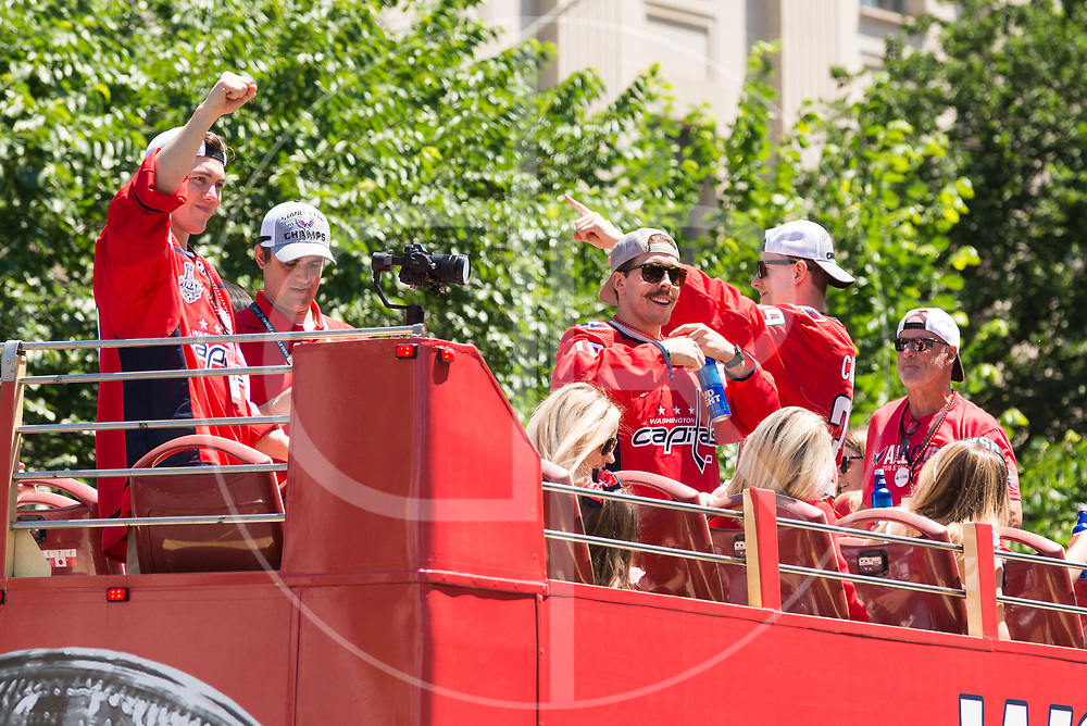 The Washington Capitals celebrate in Washington DC, their first Stanley Cup title