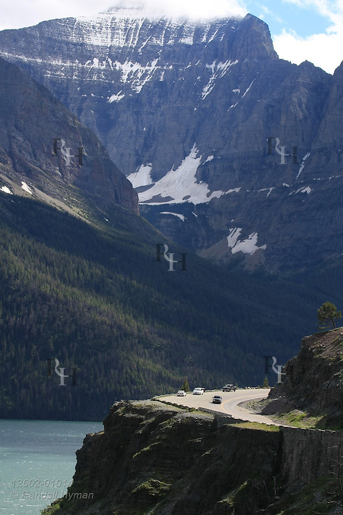 Curve in Going-to-the-Sun Road perches above north shore of Saint Mary Lake in Glacier National Park, Montana.