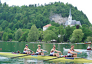 Bled, SLOVENIA, Adaptive Rowing, GBR LTAMi4+Bow, Kelsie GIBSON, Naomi RICHES,  James ROE stroke, Ryan CHAMBERLAIN and cox, Rhiannon JONES, move away from the start in his heat,  FISA World Cup, Bled venue, Lake Bled. Friday  28/05/2010  [Mandatory Credit Peter Spurrier]