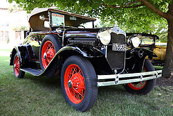 01 August 2015:  1930 Ford Model A Roadster - William Poppins.<br /> <br /> Displayed at the McLean County Antique Automobile Association Car show at David Davis Mansion in Bloomington Illinois