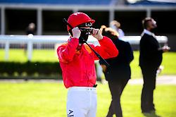 Jockey Pat Cosgrave in the parade ring - Mandatory by-line: Dougie Allward/JMP - 10/07/2020 - HORSE RACING - Bath Racecourse - Bath, England - Bath Races