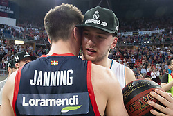 June 19, 2018 - Vitoria, Spain - Kirolbet Baskonia Matt Janning and Real Madrid Luka Doncic during Liga Endesa Finals match (4th game) between Kirolbet Baskonia and Real Madrid at Fernando Buesa Arena in Vitoria, Spain. June 19, 2018. (Credit Image: © Coolmedia/NurPhoto via ZUMA Press)