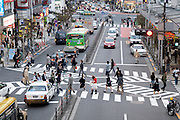 people crossing at a typical multi pedestrian zebra Tokyo Japan