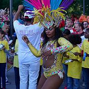 London,England,UK: 7th Aug 2016: Paraiso Samba Carnival parade at the Marking the Opening of the Rio Olympics 2016,London,UK at The Scoop,London,UK. Photo by See Li