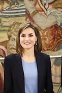 040116 Queen Letizia attends audiences at Zarzuela Palace