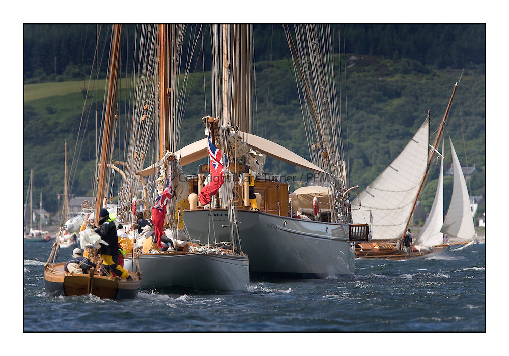 Adix tows The Lady Anne and Ayrshire Lass 1887 Gaff Cutter..Mixed and bright conditions for the fleet as they race from Kames to Largs...* The Fife Yachts are one of the world's most prestigious group of Classic .yachts and this will be the third private regatta following the success of the 98, .and 03 events.  .A pilgrimage to their birthplace of these historic yachts, the 'Stradivarius' of .sail, from Scotland's pre-eminent yacht designer and builder, William Fife III, .on the Clyde 20th -27th June.   . ..More information is available on the website: www.fiferegatta.com . .Press office contact: 01475 689100         Lynda Melvin or Paul Jeffes