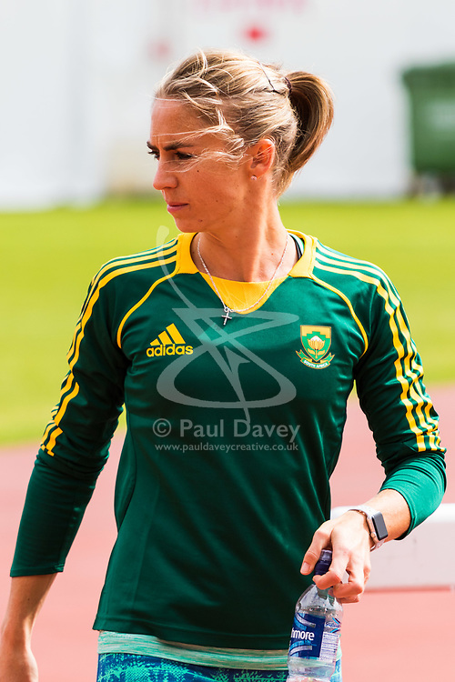 London, 03 August 2017. Wenda Nel of South Africa training at the warm-up track ahead of the IAAF World Championships London 2017 at the London Stadium.