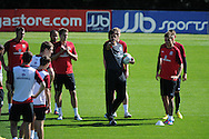 Wales manager Chris Coleman makes a point Wales football players training at the Vale, in Cardiff on Wed 5th Sept 2012, ahead of their forthcoming World cup qualifier against Belgium on Friday 8th Sept.  pic by  Andrew Orchard, Andrew Orchard sports photography,