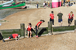A fitness boot camp on the beach at leigh on Sea in Essex.