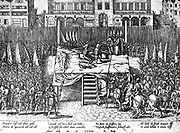 Alva's Reign of Terror.  print depicting the beheading of the counts of Egmont and Hornes, whose capture spread terror and indignation as thousands fled the Netherlands