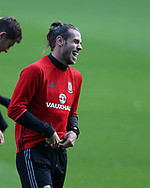 Gareth Bale of Wales has a laugh during the Wales football team training at the Cardiff city Stadium in Cardiff , South Wales on Friday 1st September 2017.  the team are preparing for their FIFA World Cup qualifier home to Austria tomorrow.  pic by Andrew Orchard, Andrew Orchard sports photography<br /> contact and payments to Andrew Orchard, 2 Old Vicarage close,