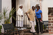 Mourners leave the Fieldings Funeral home where the viewing for Walter Scott was held April 10, 2015 in Charleston, South Carolina. Scott was shot multiple times in the back and died on the scene after running from police in North Charleston.