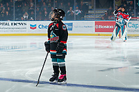 KELOWNA, BC - NOVEMBER 8: The minor hockey player of the game lines up with the Kelowna Rockets against the Medicine Hat Tigers at Prospera Place on November 8, 2019 in Kelowna, Canada. (Photo by Marissa Baecker/Shoot the Breeze)