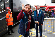 Mark Noble (16) of West Ham United waves to the fans as he gets off the team bus on arrival at the Vitality Stadium before the Premier League match between Bournemouth and West Ham United at the Vitality Stadium, Bournemouth, England on 19 January 2019.