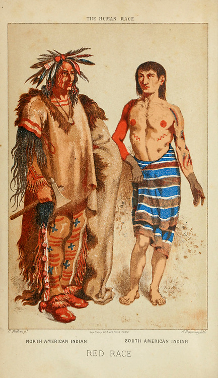 North American and South American Indians Hand painted engraving on wood From The human race by Figuier, Louis, (1819-1894) Publication in 1872 Publisher: New York, Appleton