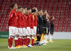 De to hold stiller op før UEFA Nations League kampen mellem Danmark og Belgien den 5. september 2020 i Parken, København (Foto: Claus Birch).