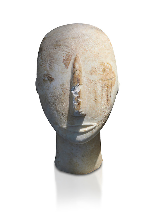 Head of a Cycladic statue with remnants of painted eyes and right cheek, Parian Marble, Amorgos, Early Cycladic II period (2800-3200BC). National Archaeological Museum, Athens.   White background. .<br /> <br /> If you prefer to buy from our ALAMY PHOTO LIBRARY  Collection visit : https://www.alamy.com/portfolio/paul-williams-funkystock/cycladic-art-artefacts.html Type into the LOWER SEARCH WITHIN GALLERY box to refine search by adding background colour, place, museum etc<br /> <br /> Visit our CYCLADIC CIVILISATIONS PHOTO COLLECTIONS for more photos to download or buy as wall art prints https://funkystock.photoshelter.com/gallery-collection/Cycladic-civilisation-Ancient-Greek-Artefacts-art-Photos-Pictures-Images/C0000CmevVvnC.XU