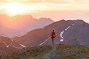 Krissy Moehl Trail running on Handies Peak, San Juans, Colorado. Nano hybrid light air // Krissy Moehl running on along the summit of 14er Handies Peak, while out cheering on racers of the Hardrock 100. San Juans, Colorado