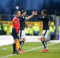 Falkirk's Conor McGrandles on for Lee Miller. <br /> Falkirk 1 v 1 Hibernian, Scottish Championship game played 17/1/2015 at The Falkirk Stadium.