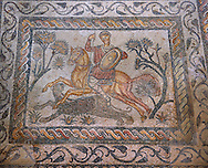 Roman moisaic showing a panther being hunted. 4th Century AD from the Roman Villa of Las Tiendas, National Museum Of Roman Art, Merida, Spain . Emerita Augusta (Merida)  was founded as a Roman colony in 25 BC under the order of the emperor Augustus to serve as a retreat for the veteran soldiers (emeritus) of the legions V Alaudae and X Gemina. The city, one of the most important in Roman Hispania, The archeological site in the city has been a UNESCO World Heritage site since 1993.<br /> <br /> Visit our SPAIN HISTORIC PLACES PHOTO COLLECTIONS for more photos to download or buy as wall art prints https://funkystock.photoshelter.com/gallery-collection/Pictures-Images-of-Spain-Spanish-Historical-Archaeology-Sites-Museum-Antiquities/C0000EUVhLC3Nbgw <br /> .<br /> <br /> Visit our ROMAN ART & HISTORIC SITES PHOTO COLLECTIONS for more photos to download or buy as wall art prints https://funkystock.photoshelter.com/gallery-collection/The-Romans-Art-Artefacts-Antiquities-Historic-Sites-Pictures-Images/C0000r2uLJJo9_s0