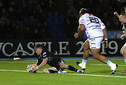 Glasgow Warriors George Horne scores a try against Cardiff during the Heineken Champions Cup match at Scotstoun Stadium, Glasgow.