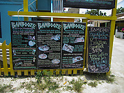 Menu of the Bambooze restaurant, Caye Caulker, Belize