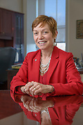 Dr. Julie Wollman the tenth president of Widener. Wollman, formerly served as the president of Edinboro University of Pennsylvania. Prior to becoming president of Edinboro, Wollman served as vice president for academic affairs at Wheelock College in Boston, Mass. Before that, she was vice president for academic affairs at Worcester State University, and dean of the Feinstein School of Education and Human Development at Rhode Island College, where she also co-directed the doctoral program and held rank of full professor, and was a graduate of Harvard University. This photographed was taken on Widener University campus in Chester, Pa on Tuesday 15 December 2015. Photograph by Jim Graham