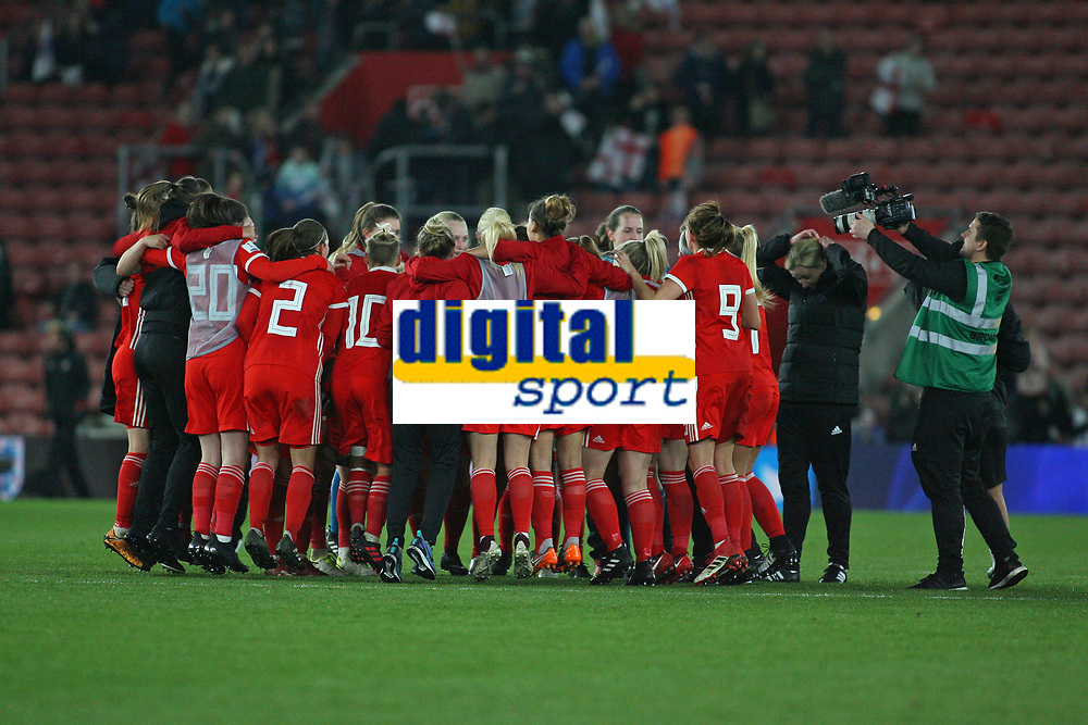 Football - 2017 / 2018 Womens World Cup Qualifier - UEFA Group One: England vs. Wales<br /> <br /> The Welsh team celebrate at the final whistle at St Marys Stadium<br /> <br /> COLORSPORT/SHAUN BOGGUST