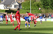 Joshua Wilson of Ashton United (R) deflects the ball off from Liam Hughes of Matlock Town (M) during the Northern Premier League match between Matlock FC and Ashton United at the Proctor Cars Stadium on October 10th, 2020 in Matlock, Derbyshire.  Local fans welcomed to watch the match maintaining Government's Covid-19 guidelines. (VXP Photo/ Shaun Hardwick)
