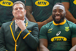 Durban. 170818. Springbok team picture with Springbok each Rassie Erasmus during the South African national rugby team captains media conference and team photo at Garden Court Umhlanga  in Durban, South Africa. Picture Leon Lestrade. African News Agency/ANA.