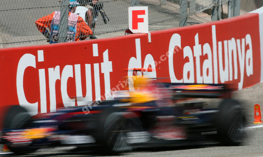 A blurred Mark Webber (Red Bull-Renault) in practice for the 2007 Spanish Grand Prix at the Circuit de Catalunya outside Barcelona. Photo: Grand Prix Photo