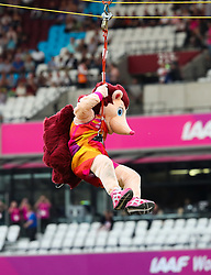 London, August 13 2017 . Hero the Hedgehog, mascot of IAAF London 2017 world Championships arrives in the London Stadium by zipwire. © Paul Davey.