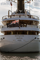 THEMENBILD - die White Rose of Drachs - Yacht (Länge: 65m - Gäste: 12 in 6 Kabinen - Besatzung: 18 in 9 Kabinen - IMO 1008140 - Yacht Wert: US Dollar 80 Millionen - Besitzer: Michael Evans - Evans Net) im Hafen, aufgenommen am 27. Juni 2018 in Pula, Kroatien // The White Rose of Drachs - Yacht Length: 65m (213ft) - Guests: 12 in 6 cabins - Crew: 18 in 9 cabins - IMO 1008140 - Yacht Value: US Dollar 80 million - Owner: Michael Evans - Evans Net at the Habor of Pula, Croatia on 2018/06/27. EXPA Pictures © 2018, PhotoCredit: EXPA/ JFK