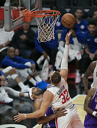 October 12, 2017 - Los Angeles, California, U.S - Blake Griffin #32 of the Los Angeles Clippers goes for a  layup during their preseason game against the Sacramento  Kings Thursday October 12, 2017 at the Galen Center in  USC in Los Angeles, California. Clippers defeat Kings, 104- 87. (Credit Image: © Prensa Internacional via ZUMA Wire)